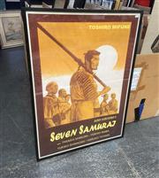 Sale 9087 - Lot 2067 - Akira Kurosawas Seven Samurai Movie Poster (reproduction) 102 x 73 cm