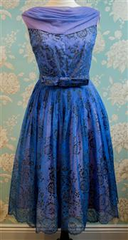 Sale 8448A - Lot 68 - Fabulous Vintage 1950s blue flocked chiffon party frock featuring beautiful floral flocked chiffon fabric with tiny sparkles throug...