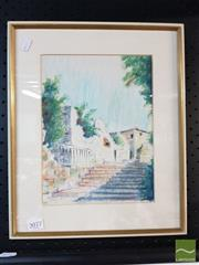 Sale 8474 - Lot 2098 - Framed Pastel & Acrylic of a Stairway Scene, signed & Dated LL