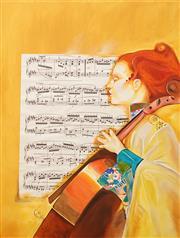 Sale 8675A - Lot 5029 - Allan Goddard (1950 - 2018) - Celloist 121.5 x 91cm