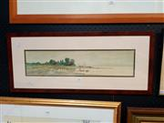 Sale 8671 - Lot 2007 - Louis Kinney Harlow - Cottages by the River 1890 chromolithograph, signed in plate -