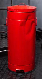 Sale 8761A - Lot 96 - A group of bins including red painted trash can  (dented)