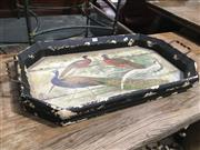 Sale 8795 - Lot 1014 - Timber Hand Painted Serving Tray Depicting Peacocks