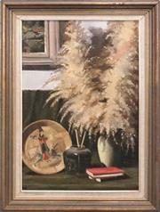 Sale 8821A - Lot 5003 - John Perkins - Interior Still Life with Oriental Wares 75 x 49.5cm