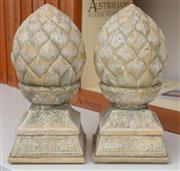 Sale 9005H - Lot 80 - A pair of ceramic finials of artichoke / acorn form, Height 27cm