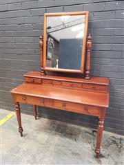 Sale 9048 - Lot 1067 - Dressing Table, with turned supports, as stepped top with six drawers & on turned legs (h:97 x w:122cm)