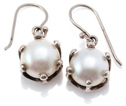Sale 9145 - Lot 325 - A PAIR OF FRESHWATER PEARL EARRINGS; crown claw set in sterling silver with 11mm oval cultured pearls to shepherds hooks, length 26m...