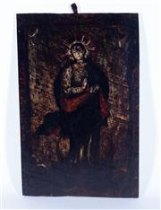 Sale 8599A - Lot 67 - An interesting religious iconic painted oak panel depicting the virgin Mary, probably 18th century, H 50 x W 31cm