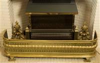 Sale 8392H - Lot 37 - A brass fire fender, W 120cm