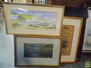Sale 8513 - Lot 2097 - Framed Artworks incl Marilyn Dewar Coastguard Cottages, (3)