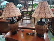 Sale 8601 - Lot 1039 - Pair of Wicker Table Lamps