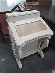 Sale 8620 - Lot 1070 - White Painted Timber Davenport (H: 83 W: 54 D: 49cm)