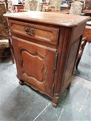 Sale 8848 - Lot 1029 - Small Mid-19th Century French Oak Cabinet or Confiturier, with single drawer & panel door (Key in office)