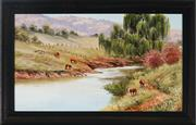 Sale 8992A - Lot 5086 - Christine De Stoop (1948 - ) - Cattle Grazing by the Cudgegong River, Rylstone 23 x 39.5 cm (frame: 30 x 46 x 2 cm)