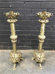 Sale 9068 - Lot 1020 - Pair of Heavy Gauge Brass Ecclesiastical Candlesticks, with pierced drip-pans, knobbed shaft & pierced apron on zoomorphic legs (h:8...