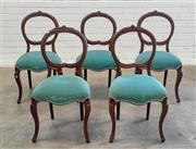 Sale 9080 - Lot 1048 - Set of 5 Mahogany Balloon Back Victorian Dining Chairs (h:88 x w:47cm)