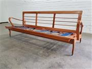 Sale 9080 - Lot 1039 - Vintage timber 3 seater lounge (h:70 x w:202 x d:80cm)