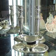 Sale 8336 - Lot 61 - Christofle Gravy Boat & a Pair Silver Plate Candlesticks