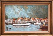 Sale 8427 - Lot 537 - Ric Elliot (1933 - 1995) - Marina, Williamstown Victoria 54 x 90.5 cm
