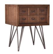 Sale 8716A - Lot 98 - A pair of side tables with reclaimed timber, aged metal accent handles, and hairpin legs. Each drawer is three handles wide. H65cm x...