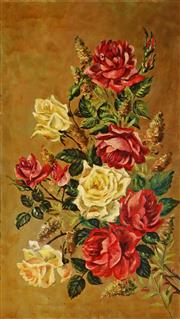 Sale 9013 - Lot 599 - Ethel Anna Stephens (1864 - 1944) - Yellow & Red Roses 80 x 45 cm (frame: 97 x 61 x 5 cm)
