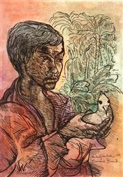 Sale 9013 - Lot 576 - Donald Friend (1915 - 1989) - Portrait of a Boy with a Bird, 1976 43.5 x 30 cm (frame: 80 x 66 x 3 cm)
