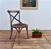 Sale 9075T - Lot 24 - Set of 10 Solid Oak cross back chairs with aged textured dark metal straps. H: 88x W: 49x D:52
