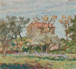 Sale 9161 - Lot 521 - RUPERT BUNNY (1864 - 1947) French Landscape oil on panel 21 x 23.5 cm (frame: 40 x 42 x3 cm) unsigned, certified by The Moreton Gall...