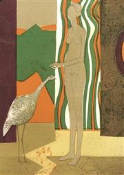 Sale 8696A - Lot 5076 - André Minaux (1923 - 1986) - La Femme et loiseau, 1972 32.8 x 26cm