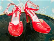 Sale 8448A - Lot 71 - Cute 1940s style red leather pin-up strappy heels Condition: As New Size: 8 Heel height: 10cm