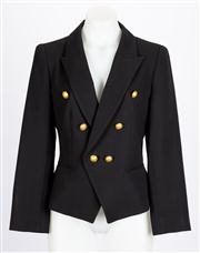 Sale 8640F - Lot 92 - A Carla Zampatti black jacket with gold coloured buttons, size 8