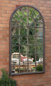 Sale 8795A - Lot 20 - An iron outdoor mirror with rust finish, H 177 x W 104 x D 6cm