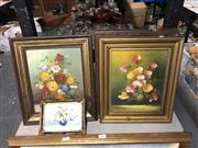 Sale 8819 - Lot 2173 - 5 Artworks : 2 x Signed European Street Scenes; 2 x  Signed Floral Still Lifes, Miniature Flower Study