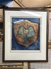 Sale 8856 - Lot 2055 - Ingrid Johnstone Shield etching and aquatint, ed. 4/25 , 56 x 49cm; 92 x 80.5cm (frame), signed -
