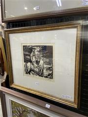 Sale 9041 - Lot 2009 - Kenneth Jack, The Stockman, woodcut ed. 29/30, frame size: 43 x 51 cm), signed lower right