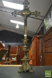 Sale 8317 - Lot 1025 - Vintage Gilt Brass Altar Crucifix on triform base