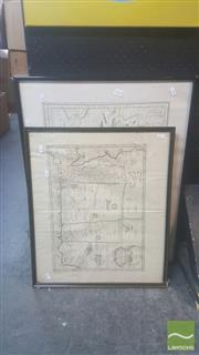 Sale 8446 - Lot 2036 - Pair of Framed Early Maps, various sizes