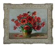 Sale 8660A - Lot 64 - Auguste H Bernard, French late C19th - early C20th - Still Life of Red Flowers 50 x 60cm