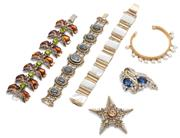 Sale 9037 - Lot 381 - SIX VINTAGE CONSTUME BRACELETS AND BROOCHES; Rosette 22ct gold lined open cuff bangle with fringe of 6mm cultured pearls in original...