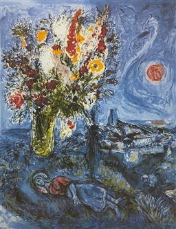 Sale 9108A - Lot 5057 - Marc Chagall (1887 - 1985) - La Dormeuse Aux Fleurs 75 x 56 cm (sheet)