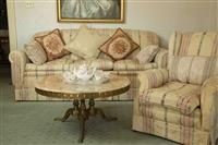 Sale 8392H - Lot 41 - A three seater brocade floral and striped upholstered lounge and cushions together with a matching wingback armchair