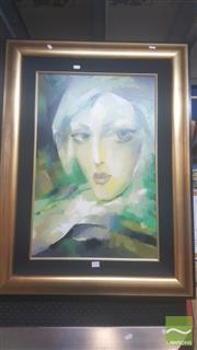 Sale 8446 - Lot 2030 - Martiros Manoukian (1947 - ) - Portrait of a Woman 70 x 46cm (frame size: 97 x 73cm)