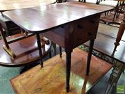 Sale 8485 - Lot 1076 - Late Georgian Mahogany Pembroke Table, with ebony stringing, two drawers & turned legs