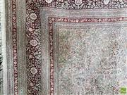 Sale 8559 - Lot 1060 - Large Indo-Persian Silk Floor Carpet, with central medallion & pendants and fine all-over floral ground in red & cream tones