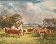 Sale 8642 - Lot 561 - William Dargie (1912 - 2003) - Before the Storm - Moving the Cattle 39.5 x 49.5cm