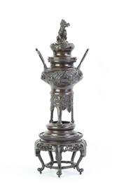 Sale 8749 - Lot 97 - Bronze Chinese Lidded Censer On Stand