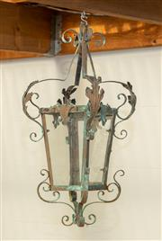 Sale 8745A - Lot 88 - A Vintage French Wrought Iron Outdoor Hanging Lantern, 70 x 30cm
