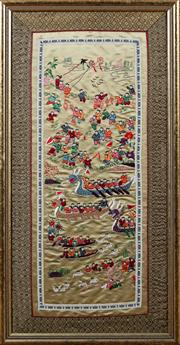 Sale 8882H - Lot 65 - A framed Chinese embroidery of a dragon boat race, 69cm x 35cm