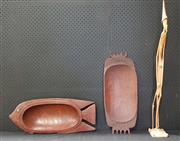 Sale 8971 - Lot 1080 - Collection of Tribal Treen Bowls and Figure (Various Sizes)