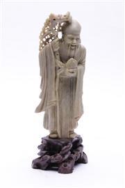 Sale 9023O - Lot 576 - Soapstone Figure of an Elder (H: 24cm)